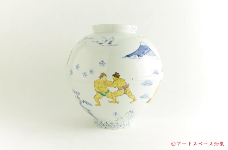 画像2: 工房あめつち 九谷「色絵力士壺」