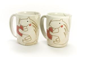 画像2: 岡美希「アニマルマグカップ(ハートとリス)」