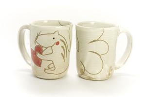 画像1: 岡美希「アニマルマグカップ(ハートとリス)」