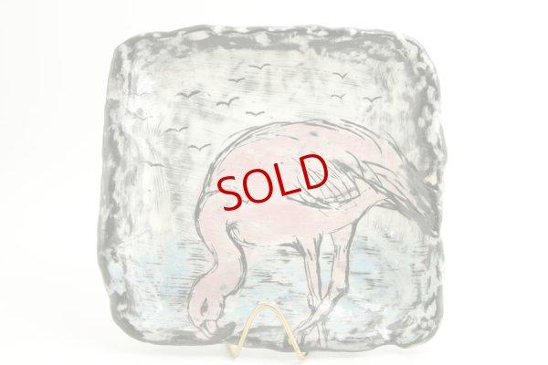 画像1: 奥山泉「四角皿 大 フラミンゴ」