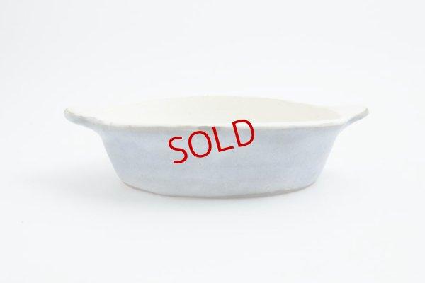 画像1: 八木橋昇「青白 楕円グラタン皿(耐熱陶器)」