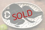 増田光 白黒長楕円皿 サル