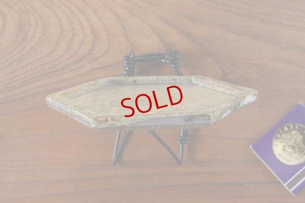 画像3: 馬渡新平「ヒビ粉引 六角板皿4寸」