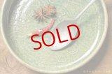 馬渡新平 緑ヒビ粉引き 平鉢6寸