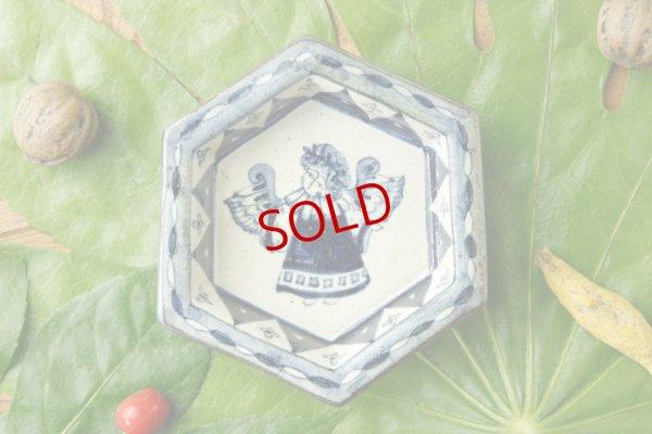 画像1: ヒヅミ峠舎 三浦圭司・三浦アリサ「染付 天使六角豆皿」
