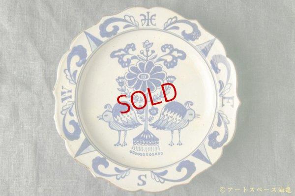 画像1: ヒヅミ峠舎 三浦圭司・三浦アリサ「染付 輪花8寸皿 鳥と方位磁針」