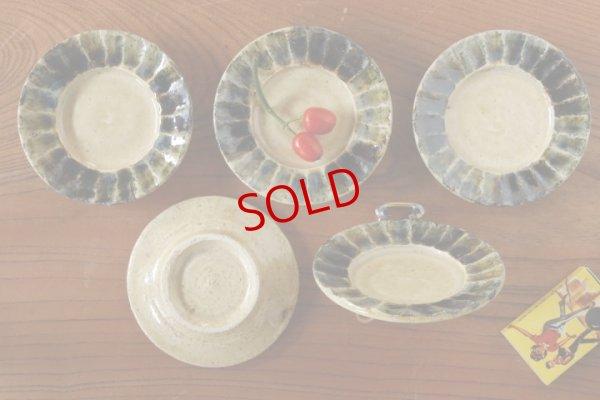 画像2: 八木橋昇 「白飴掛分面取 リム皿3寸」