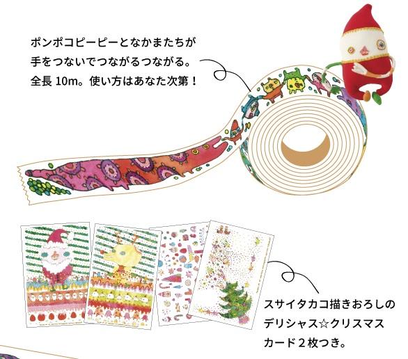 画像1: スサイタカコ「ポンポコピーピーのつながるつながるマスキングテープ&デリシャス☆ポストカード2種セット」 <レターパック対応商品>