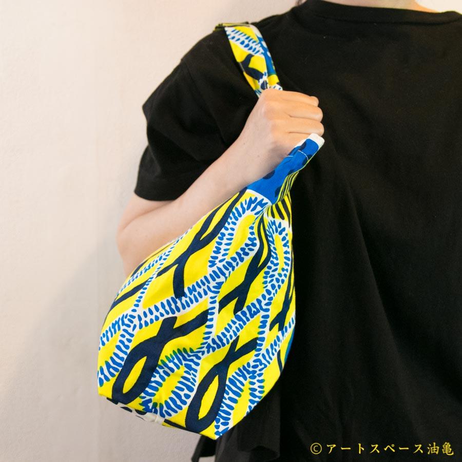 画像1: 【受注生産商品】テキスタイルデザインmakumo「キャンバスバッグ パン/青・黄」【レターパック対応商品】