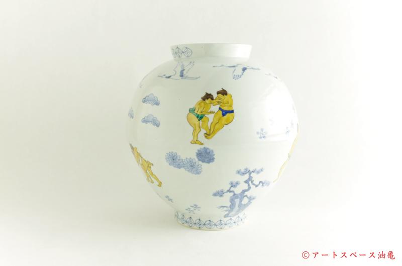 画像1: 工房あめつち 九谷「色絵力士壺」