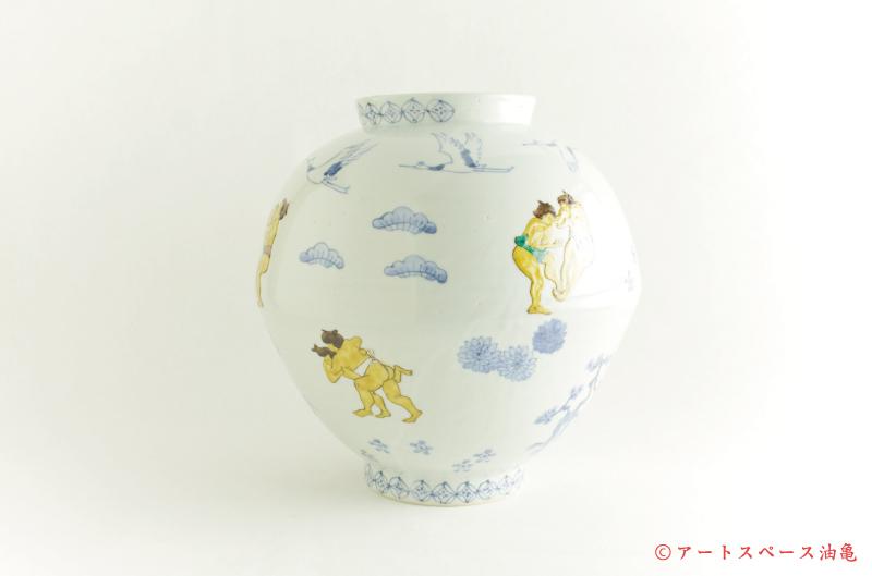 画像3: 工房あめつち 九谷「色絵力士壺」
