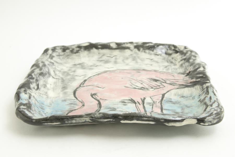画像3: 奥山泉「四角皿 大 フラミンゴ」