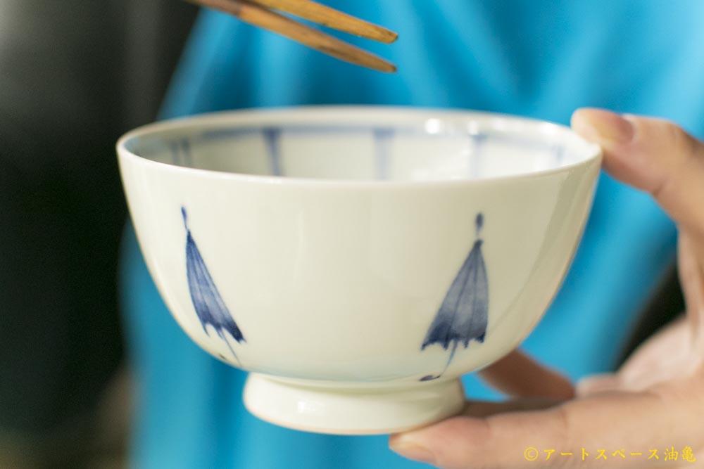 画像1: 武者千夏子「染付 めし碗 傘文」