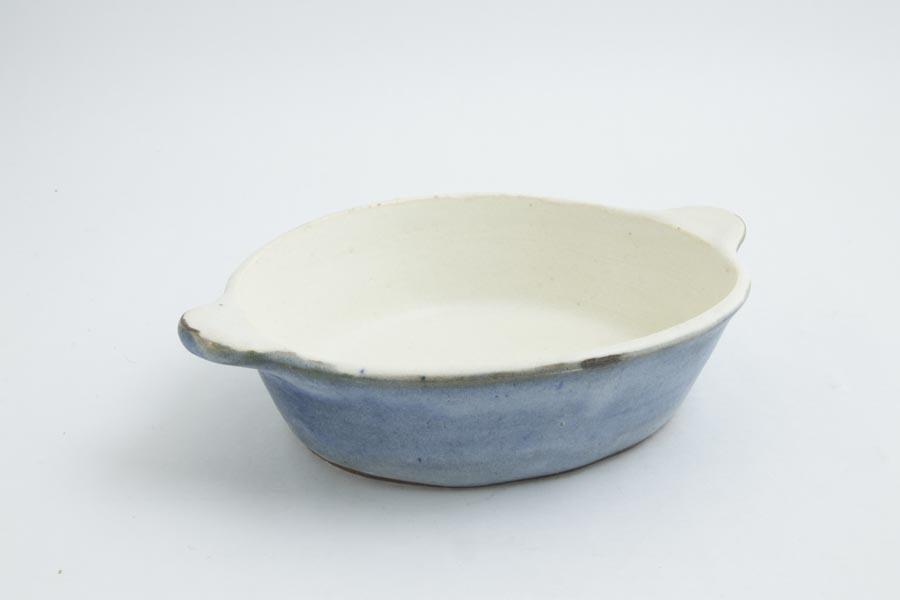 画像2: 八木橋昇「青白 楕円グラタン皿(耐熱陶器)」