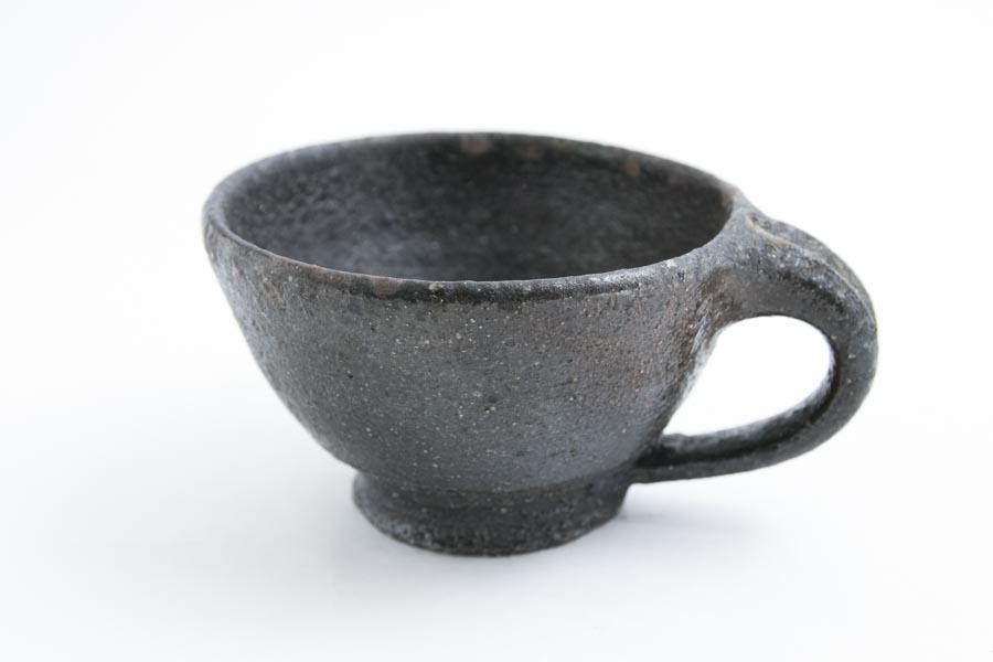 画像1: 加地学「黒化粧 銅釉  マグカップ」