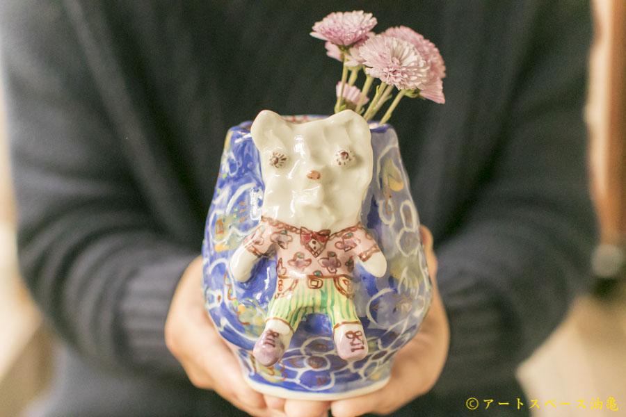 画像1: 浜坂尚子「くま青い花器」