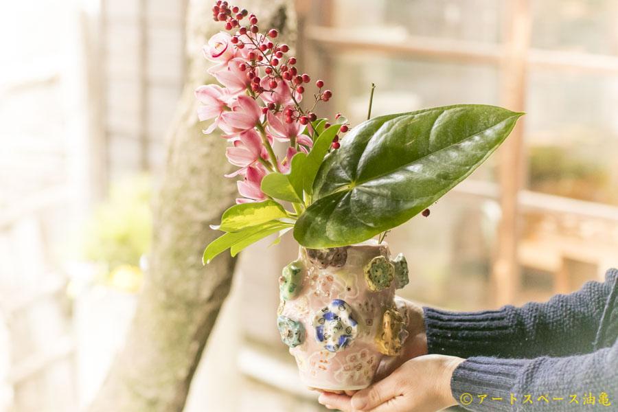 画像1: 浜坂尚子「ピンクお花花器」
