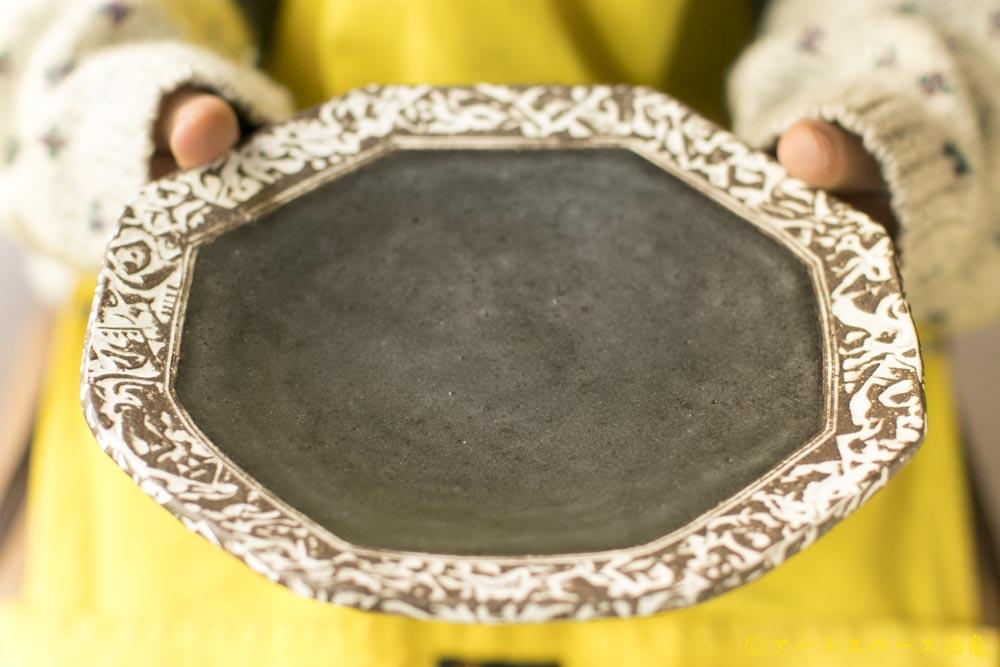 画像2: 肥後博己「印花紋八角皿」