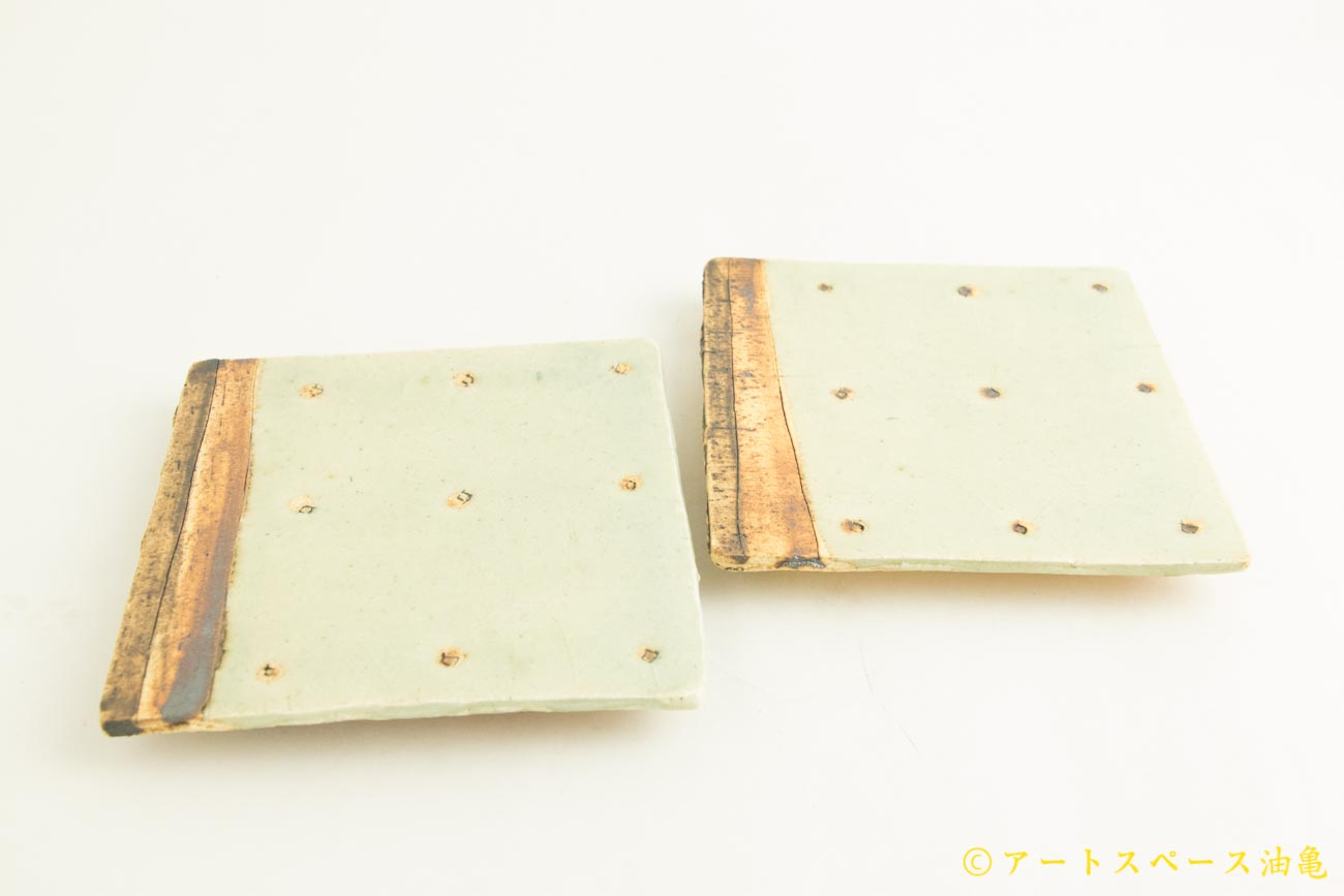 画像1: 加藤祥孝「灰釉 4寸角ドット紋平皿」