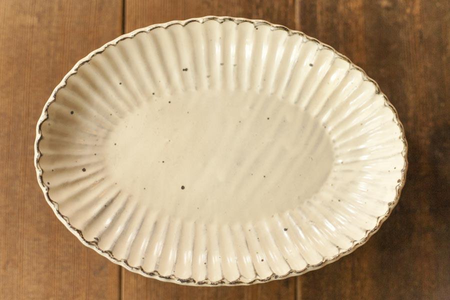 画像1: 加藤祥孝「粉引 7.5寸楕円輪花深皿」