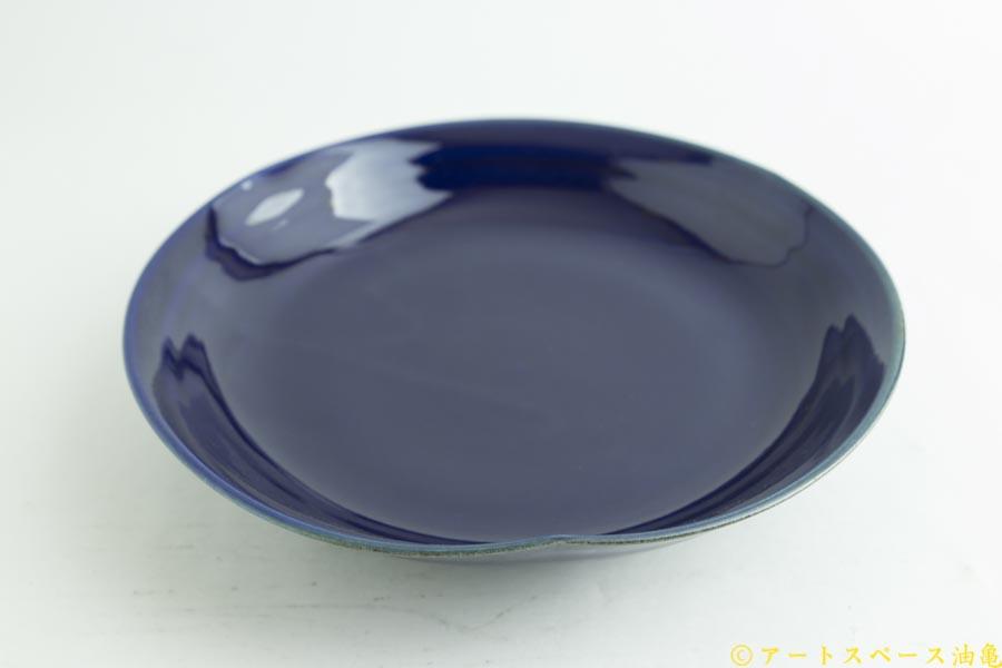 画像2: 柳川謙治「瑠璃 花七寸皿」