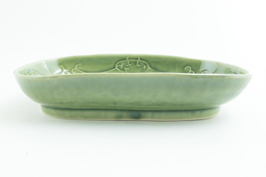 画像3: 柳川謙治「織部 陽刻楕円鉢」