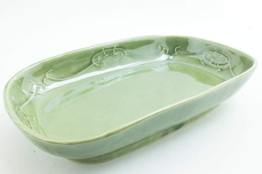 画像1: 柳川謙治「織部 陽刻楕円鉢」