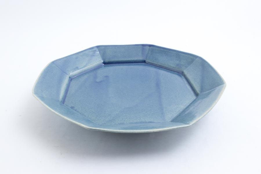 画像2: 柳川謙治「薄瑠璃 八角七寸皿」