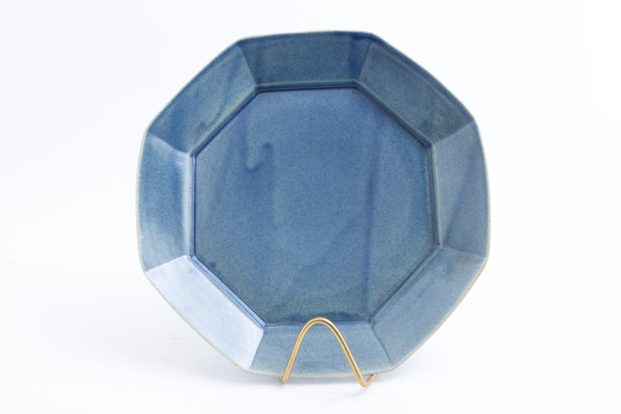 画像1: 柳川謙治「薄瑠璃 八角七寸皿」