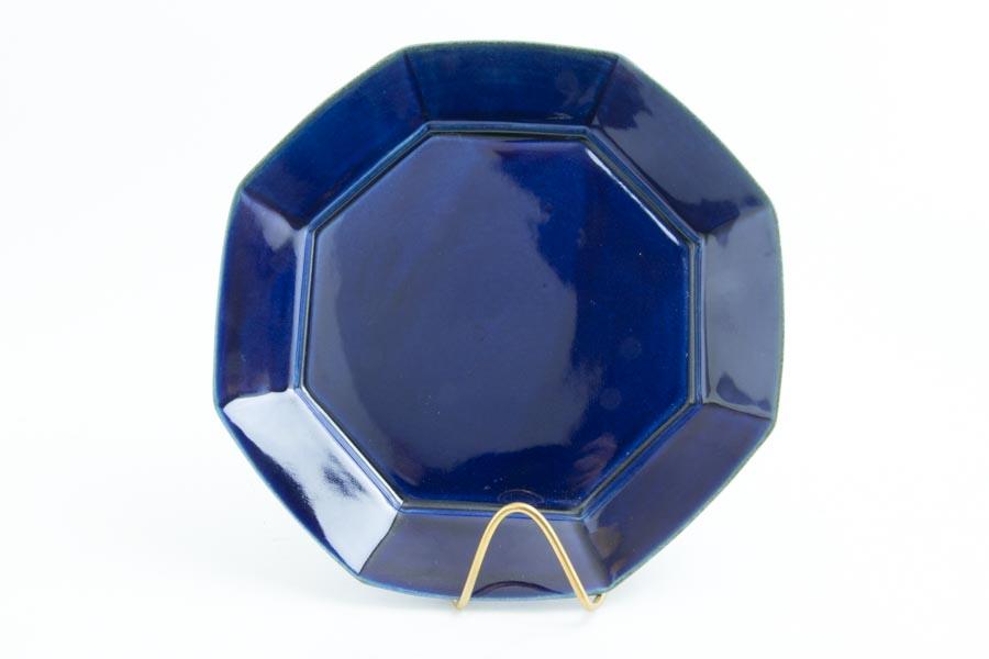 画像1: 柳川謙治「瑠璃 八角七寸皿」