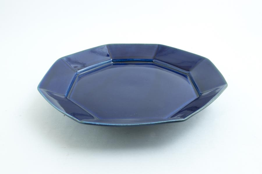 画像2: 柳川謙治「瑠璃 八角七寸皿」