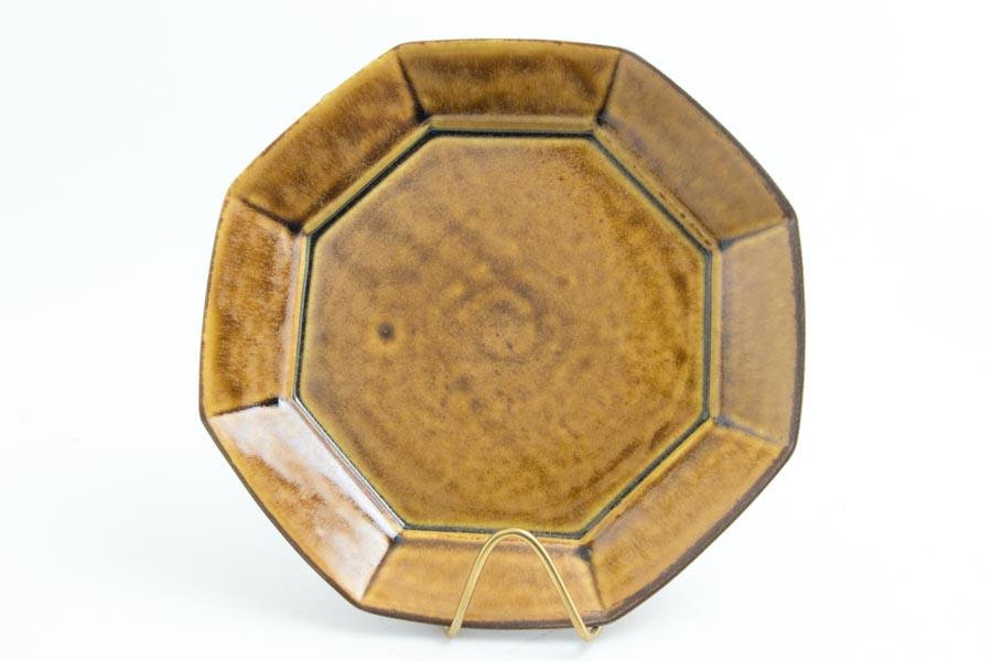 画像1: 柳川謙治「飴釉 八角七寸皿」