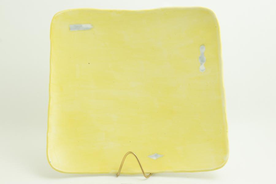 画像1: 矢尾板克則「色絵皿(角)黄」