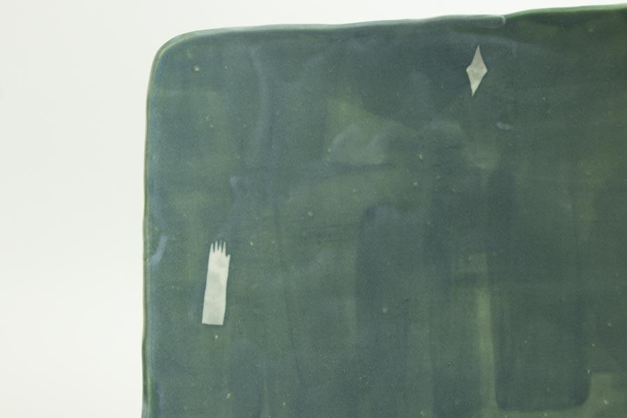 画像2: 矢尾板克則「色絵皿(角)青」