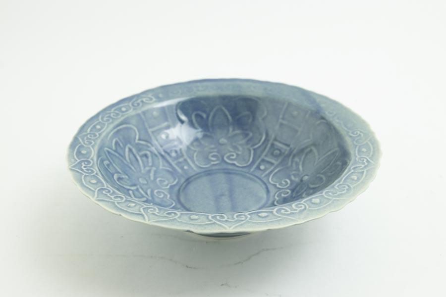 画像2: 柳川謙治「薄瑠璃 如意頭丈 五寸鉢」