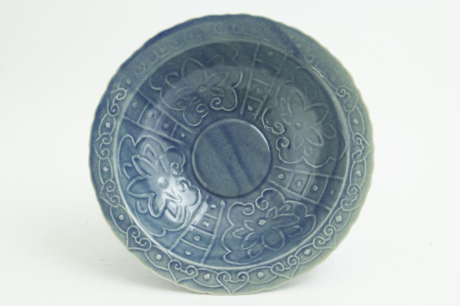 画像1: 柳川謙治「薄瑠璃 如意頭丈 五寸鉢」