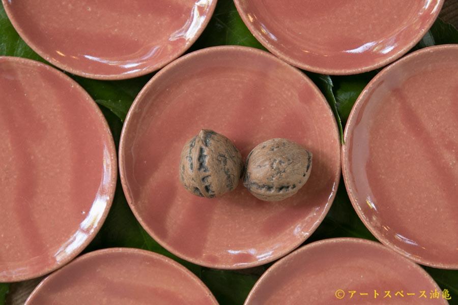 画像1: 土井康治朗 紅赤平皿2寸3分【アソート作品】