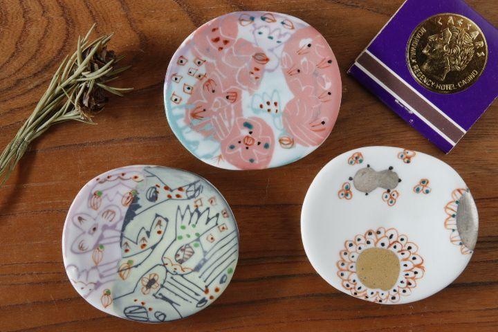 画像1: 浜坂尚子「色絵豆皿」