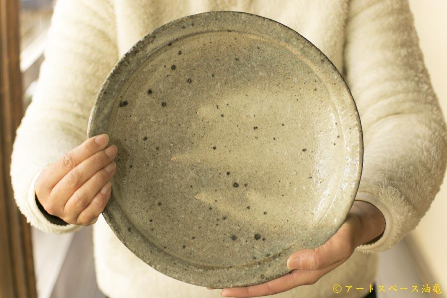 画像1: 八田亨「白掛 リム皿 L」
