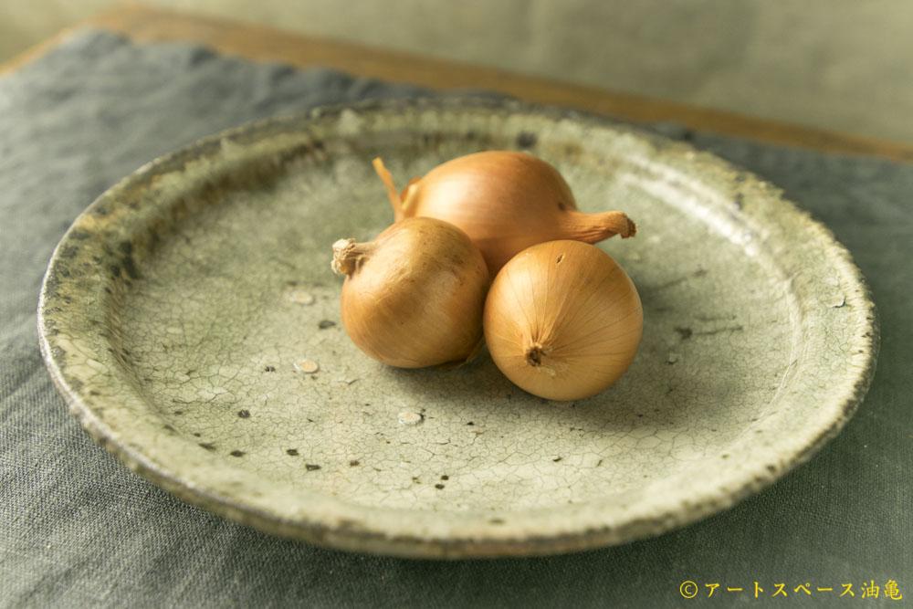 画像1: 八田亨「白掛8寸リム皿」
