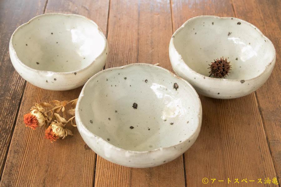 画像1: 八田亨 青粉引 五寸輪花鉢