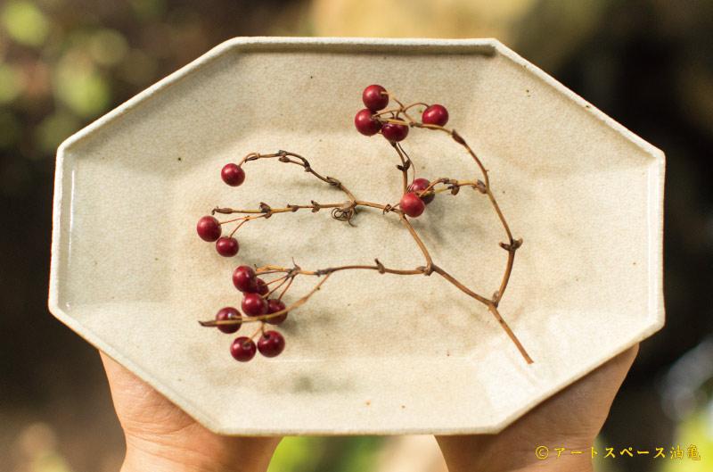 画像1: 林拓児「貫入 八角楕円皿」