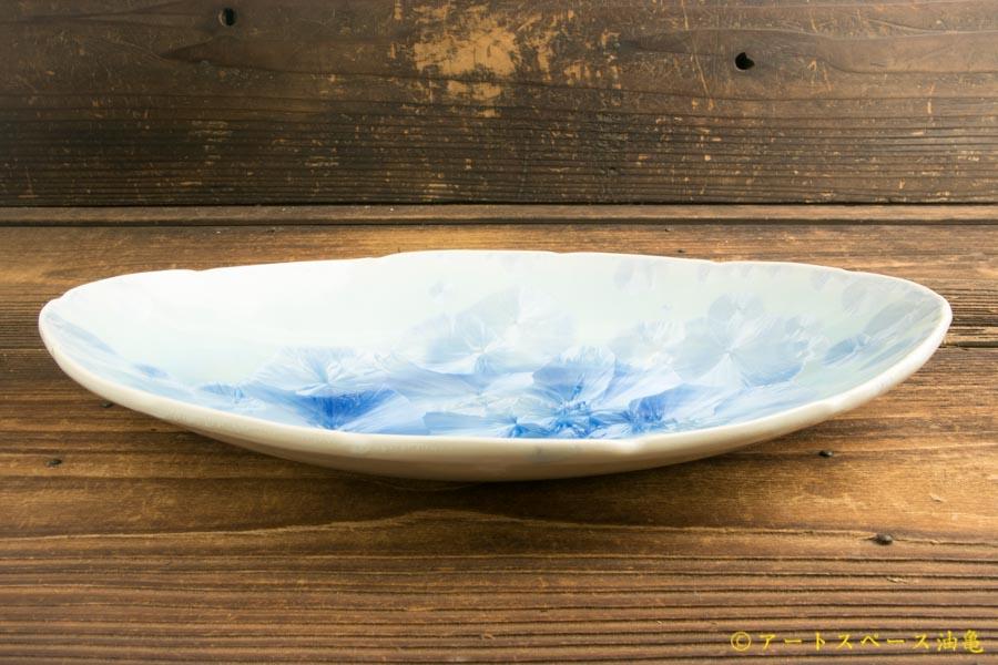 画像2: 間美恵「亜鉛華結晶 楕円皿」