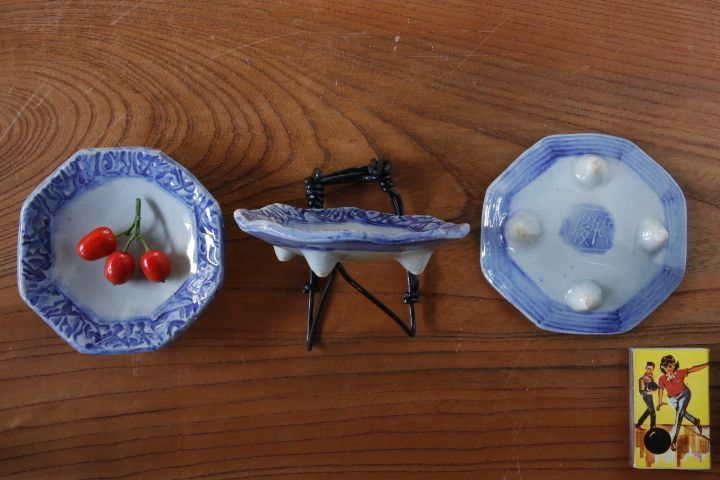 画像2: 肥後博己「染付印花八角豆皿」