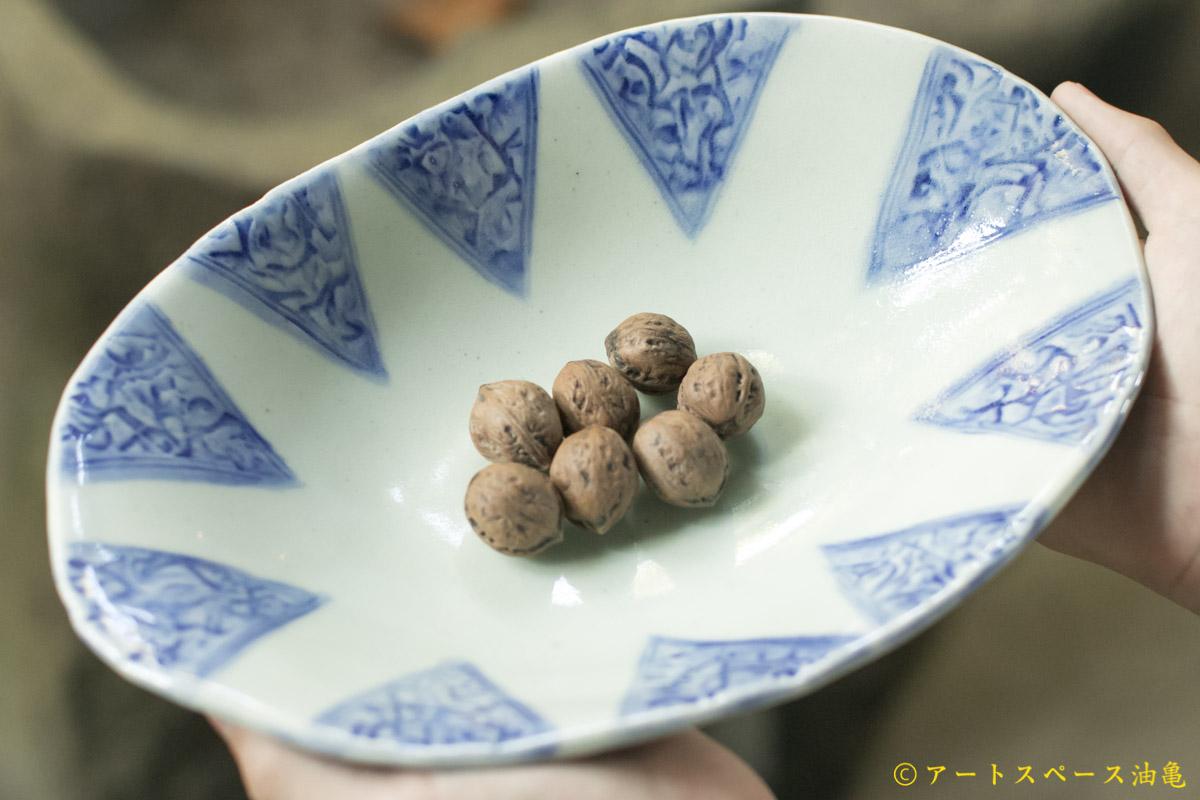 画像2: 肥後博己 印花紋染付楕円鉢