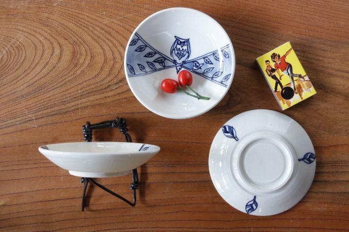 画像2: ほりゆめこ 「染付 ふくろう柄 豆皿」