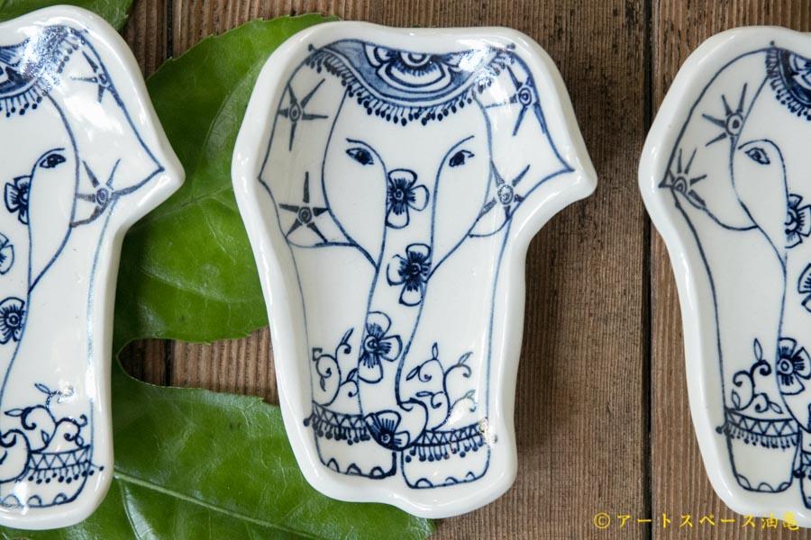 画像1: ほりゆめこ 染付 象柄小皿