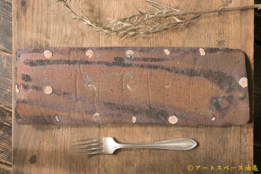 画像4: 加地学 黒化粧 灰釉 掛け流し 板皿