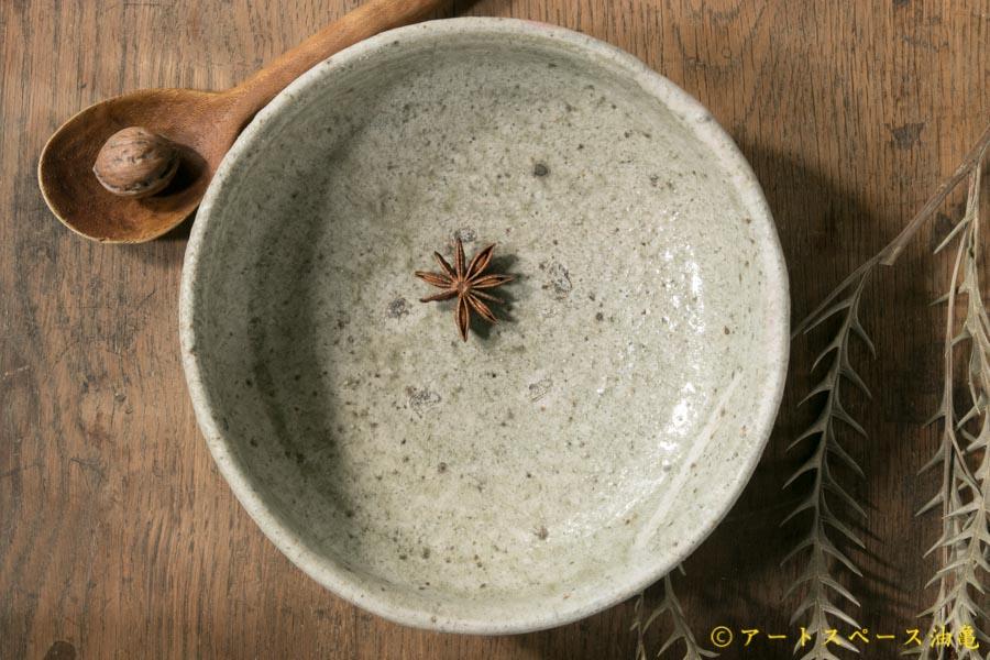 画像2: 加地学 白化粧 銅釉 灰釉 鉢