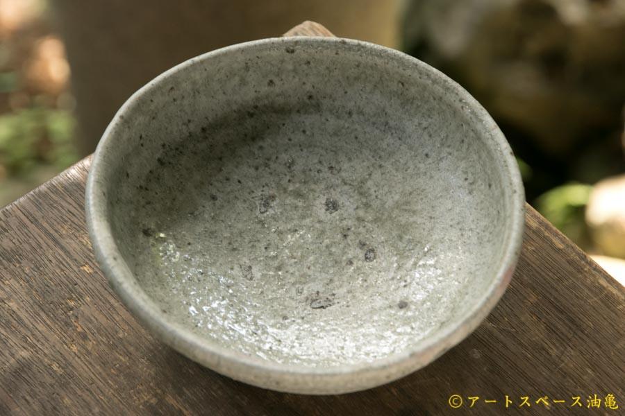 画像1: 加地学 白化粧 銅釉 灰釉 鉢